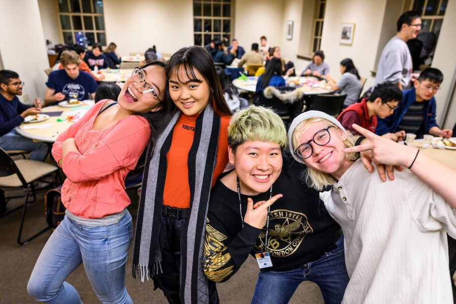 Students hanging out at a Friendsgiving event