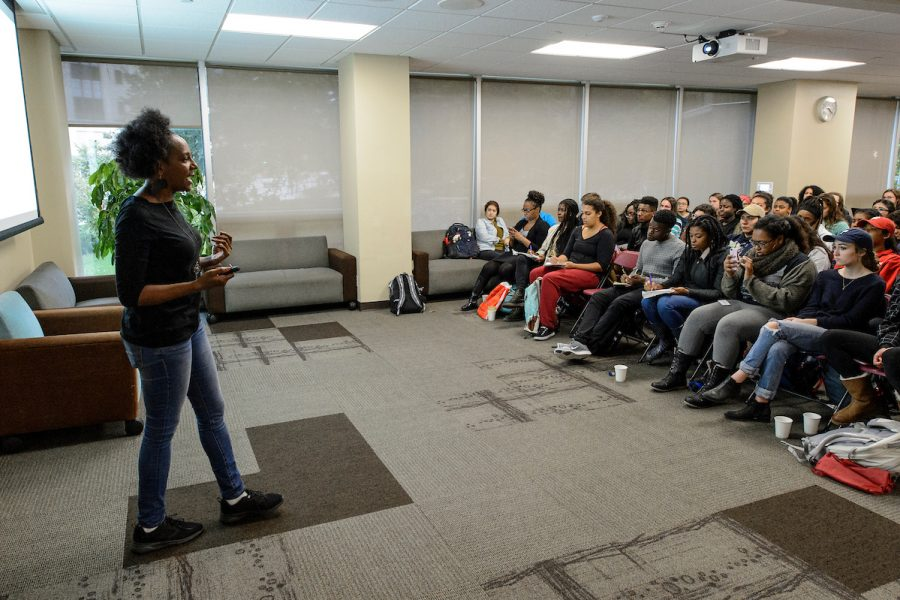 Students facilitating a workshop on social justice.