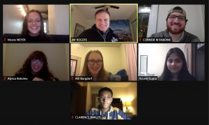 Hub interns and action team leaders meet over Zoom.