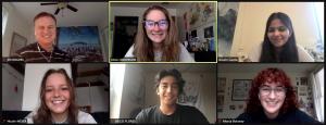 Interns take a screenshot at their weekly meeting.